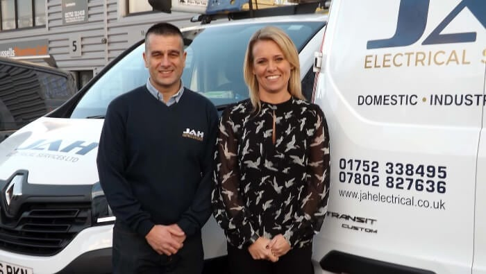 About Us Jamie and Angie Hitchock of JAH Electrical Services Ltd Plymouth Devon